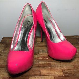 Neon Hot Pink Qupid pumps platform heels Stilettos